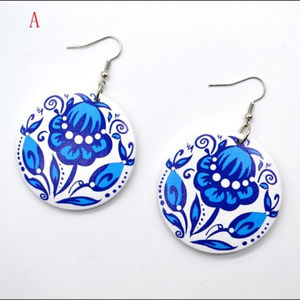 Blue & White Floral Pattern Earrings